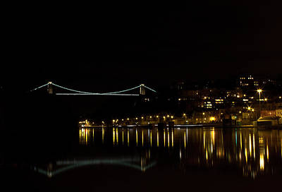 Clifton Suspension Bridge At Night Print by Brian Roscorla