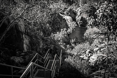 Photograph - Climbing Down To Edith Falls In Black And White, Northern Territ by Daniela Constantinescu