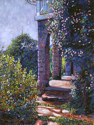 Stone Buildings Painting - Climbing Roses by David Lloyd Glover