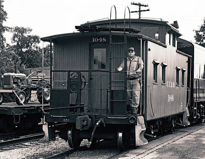 Photograph - Clinchfield Caboose 21 B W 1 by Joseph C Hinson Photography