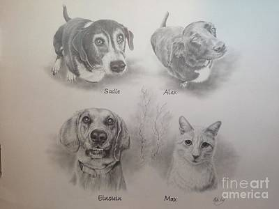 Art Print featuring the drawing Cline Pets by Mike Ivey