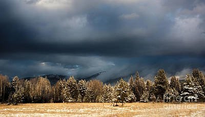 Clinging Clouds Of Winter Print by Janie Johnson