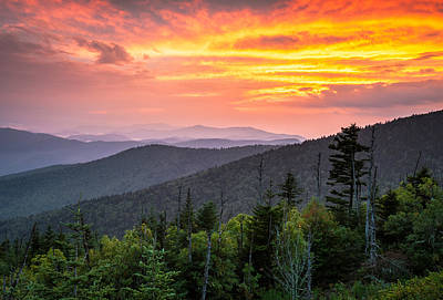 Clingmans Dome Great Smoky Mountains - Purple Mountains Majesty Art Print by Dave Allen