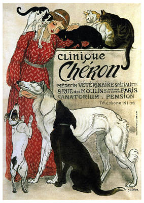 Animals Mixed Media - Clinique Cheron - Vintage Clinic Advertising Poster by Studio Grafiikka