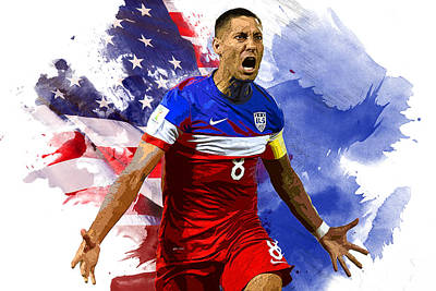 Messi Digital Art - Clint Dempsey by Semih Yurdabak