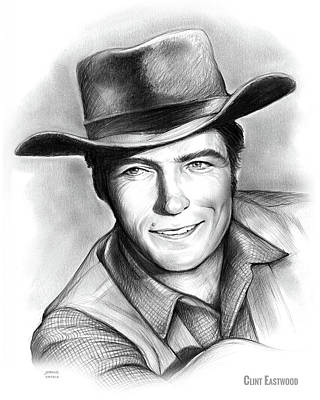 Drawings Rights Managed Images - Clint Eastwood 03FEB18 Royalty-Free Image by Greg Joens