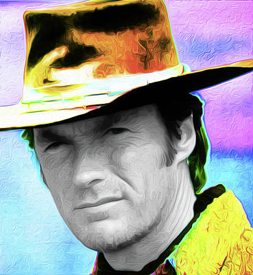 Clint Eastwood 33a By Nixo Art Print by Nicholas Nixo