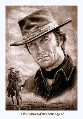 All Cowboy Painting - Clint Eastwood American Legend Sepia by Andrew Read