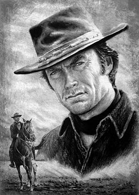 Animals Drawings - Clint Eastwood American Legend wf edit by Andrew Read