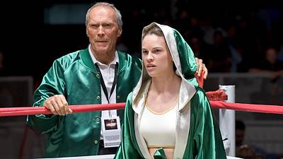 Swank Photograph - Clint Eastwood And Hillary Swank Million Dollar Baby Publicity Photo 2004 by David Lee Guss