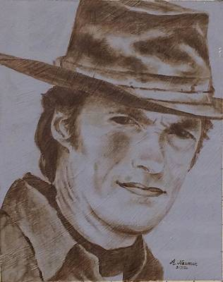 Clint Eastwood  Art Print by Arlene Newman