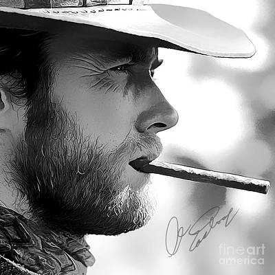 Clint Eastwood Art With Autograph Art Print by Kjc