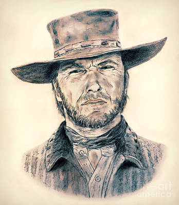 Hat Drawing - Clint Eastwood As Blondie In The Good The Bad The Ugly by Jim Fitzpatrick