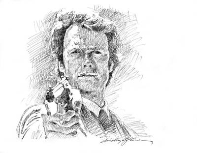 Drawings Royalty Free Images - Clint Eastwood as Callahan Royalty-Free Image by David Lloyd Glover