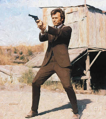 Clint Eastwood As Dirty Harry Print by Garland Johnson