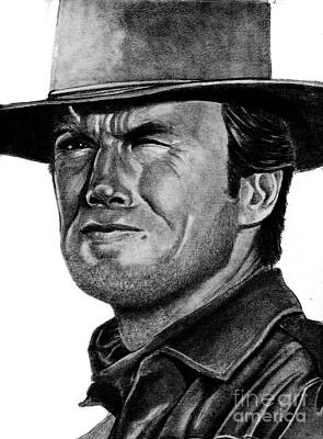 Dirty Harry Drawing - Clint Eastwood by Bill Richards