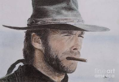 Celebrities Drawing - Clint Eastwood Drawing by Timea Mazug