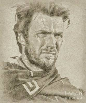 John Wayne Drawing - Clint Eastwood Hollywood Actor by Frank Falcon