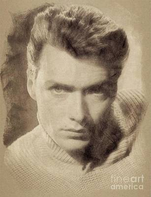 Musicians Drawings Rights Managed Images - Clint Eastwood Hollywood Actor Royalty-Free Image by Esoterica Art Agency