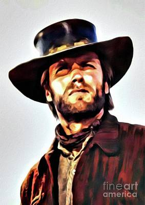 Recently Sold - Musicians Royalty Free Images - Clint Eastwood, Hollywood Legend by Mary Bassett Royalty-Free Image by Esoterica Art Agency