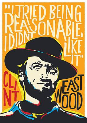 Blondie Digital Art - Clint Eastwood Pop Art Portrait by BONB Creative