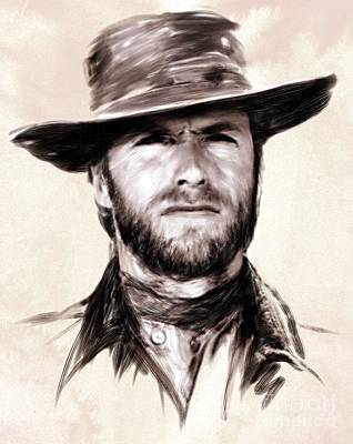 Clint Eastwood Portrait Art Print by Wu Wei