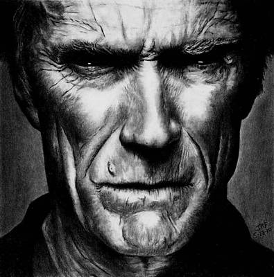 Drawing - Clint Eastwood by Rick Fortson