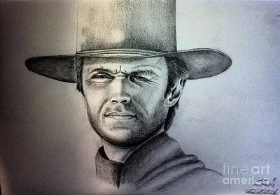 Drawing - Clint Eastwood Portrait  by Robert Monk