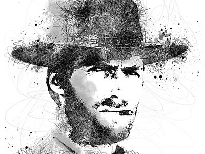 Digital Art - Clint Eastwood Scribbles Portrait by Mihaela Pater