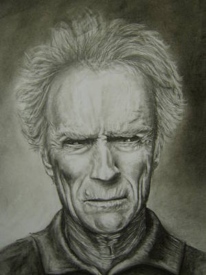 Dirty Harry Drawing - Clint Eastwood by Steph Twycross-Ritchie