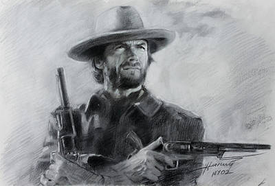 Art Print featuring the drawing Clint Eastwood by Viola El