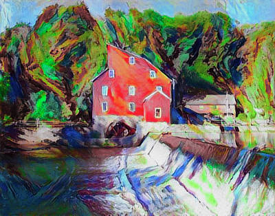 Grist Mill Painting - Clinton New Jersey -the Red Mill  On The Raritan River  Watercol by Bill Cannon