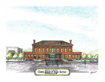 University Of Arkansas Drawing - Clinton School Of Public Service by Yang Luo-Branch