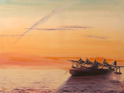 Tramp Steamer Painting - Clipper At Sunset by Christopher