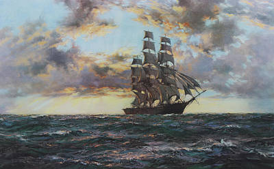 Clipper Kaisow Art Print by Montague Dawson