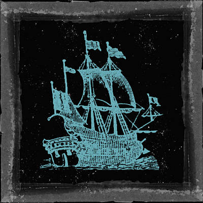 Pirate Ship Mixed Media - Blue Clipper Ship Starry Night by Brandi Fitzgerald