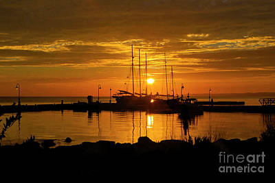Photograph - Clipper Ships In Golden Sunrise Yorktown Virginia by Karen Jorstad