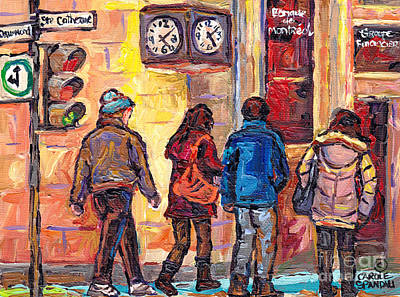 Clock Corner Drummond And St Catherine Downtown Scenes Montreal 375 Original Art Carole Spandau      Art Print by Carole Spandau