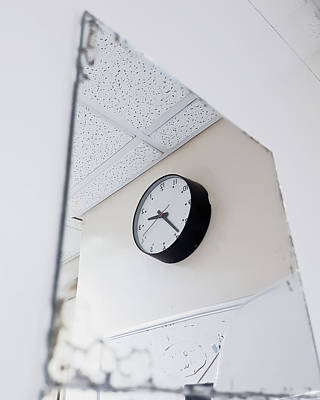 Reverse Photograph - Clock In The Mirror by Tom Gowanlock