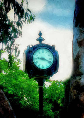 Mixed Media - Clock In The Park by Joseph Hollingsworth
