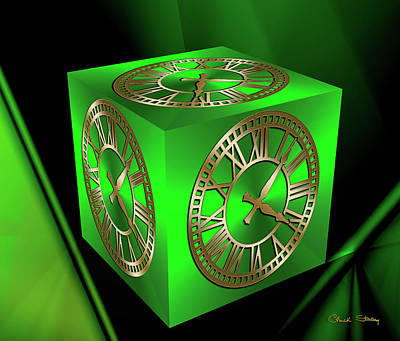 Digital Art - Clock On Green Cube by Chuck Staley