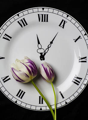 Clock Plate With Tulips Art Print by Garry Gay