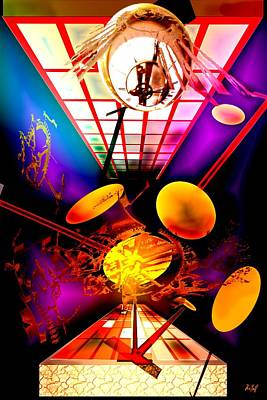 Pendulum Digital Art - Clock-sync by Helmut Rottler