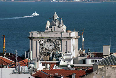 Photograph - Clock Tower At Lisbon In Portugal by Carl Purcell