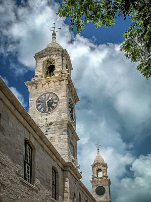 Photograph - Clock Tower At Navel Dockyard - Bermuda by Frank Mari