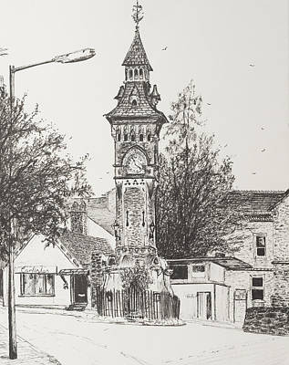 Pen And Paper Drawing - Clock Tower  Hay On Wye by Vincent Alexander Booth