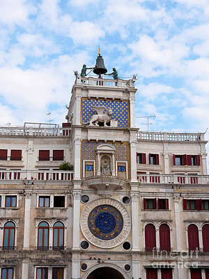 Lion Of St Mark Photograph - Clock Tower In St Mark's Square Venice Italy by Louise Heusinkveld
