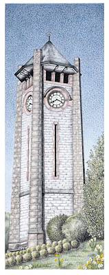 Rural Art Painting - Clock Tower by Sandra Moore