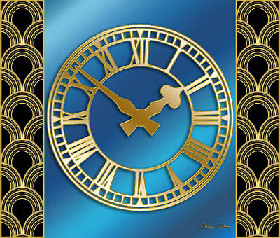 Digital Art - Clock With Border - Blue by Chuck Staley