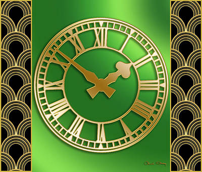 Art Print featuring the digital art Clock With Border by Chuck Staley